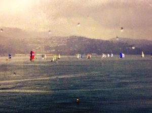 Sailboats in the rain