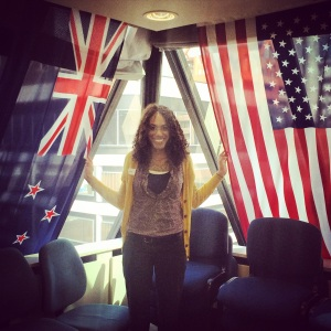 Jess by NZ and US flags