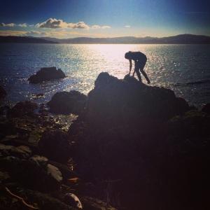 Jess climbs rock