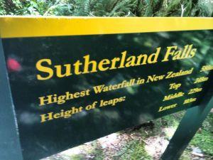 Sutherland Falls sign