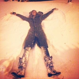 Jess makes a snow angel