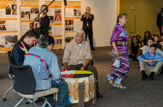 Photo credit: APJ Photography The First People respond with drums and a beautiful jingle dancer.