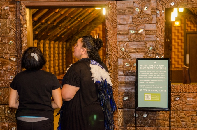 Photo credit: APJ Photography After the hongi. kisses, and hugs, we all remove our shoes and enter the marae for karakia, or incantations or prayers for spiritual guidance.